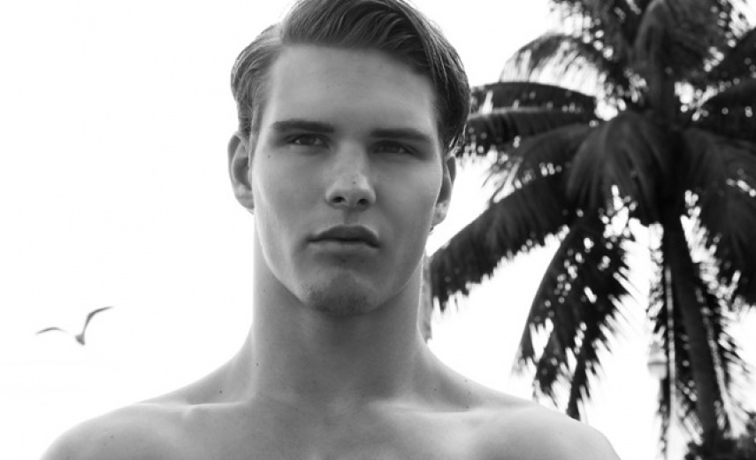 AUSTIN SCOGGIN in swimwear editorial